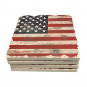 American Flag Drink Coasters Absorbent Stone With Natural Cork Backing