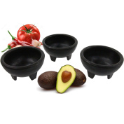 Black 3-Legged Plastic Molcajete Salsa Bowls for Homemade Dips, Party Foods, Picnic Condiments, Sauces & Toppings (2 Pack, 330ml) by Enqargo