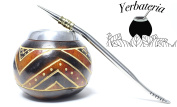 Handmade Yerba Mate Gourd Cup and Bombilla Straw Set., Contains No Dyes or Mould.