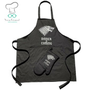 Premium Quality Dinner is Coming Game of Thrones Inspired Apron for Cooking, Baking, Grilling, Gardening, Cleaning, Sewing, Crafting, Woodworking or BBQ with Bonus Ambidextrous Oven Mitt