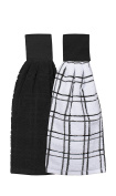 Ritz Kitchen Wears 100% Cotton Hanging Tie Towels, 2 Pack Checked And Solid, Black, 2 Piece