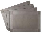 Nuovoware Placemats, [4 PACK] 30 x 45 cm Premium Exquisite Crossweave Stain Resistant Heat-resistant Non-slip Textilene Woven Plaid Kitchen Table Dining Mat Pads Place Mats, Silver