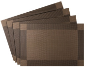 Nuovoware Placemats, [4 PACK] 30 x 45 cm Premium Exquisite Crossweave Stain Resistant Heat-resistant Non-slip Textilene Woven Plaid Kitchen Table Dining Mat Pads Place Mats, Brown, Pattern C