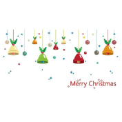 Broadroot Merry Christmas Bells Wall Stickers Living Room Shop Glass Decoration