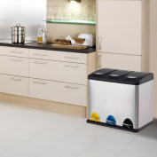 Costway 3 In 1 Stainless Steel Pedal Trash Bin Recycling Compartment Kitchen Waste Can