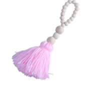 1PC Nordic Style Lovely Wood Beads Tassels Decorative Handmade Crafts for Nurseryroom Girls Room Princess Style Decor-