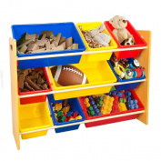 TopHomer Toy Storage Shelf Wood Toys Tidy Organiser Shelves Holder Rack Stand with 9 Plastic Boxes Cases for Kids Children Nursery Bedroom Playroom