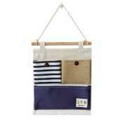 FABL Crew Wall Pockets Hanging Storage Organiser Multifunctional Pocket Stripes Up Container, Blue