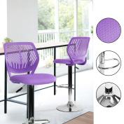 Innovareds-uk Plastic Backrest Cushion Padding Seat Adjustable Bar-stool with Chrome Footrest Purple
