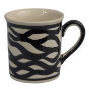Traditional Polish Pottery, Handcrafted Ceramic Funnel-shaped Mug (300ml / 10.5 fl oz), Contemporary Pattern, Q.301.ZEBRA