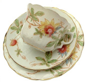 Staffordshire Hand Finished Trio Teacup Saucer And Plate Floral Pattern