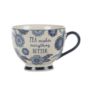 "Sass & Belle Vintage Floral ""Tea Makes Everything Better"" Mug, Blue Willow"