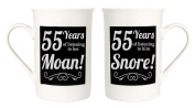 Amusing 55th Anniversary Mug Set with 55 Years of Snoring and Moaning by Haysoms