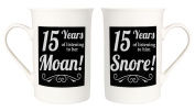 Amusing 15th Anniversary Mug Set with 15 Years of Snoring and Moaning by Haysoms