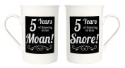 Amusing 5th Anniversary Mug Set with 5 Years of Snoring and Moaning by Haysoms