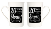 Amusing 20th Anniversary Mug Set with 20 Years of Snoring and Moaning by Haysoms