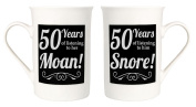 Amusing 50th Anniversary Mug Set with 50 Years of Snoring and Moaning by Haysoms