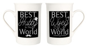 Quirky and Contemporary Best Hubby and Best Wifey Mug Set by Haysoms