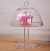 Glass Footed Stand & Dome 20 x 14cm, Transparent
