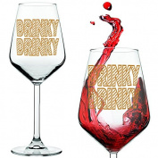 DRINKY DRINKY Wine Glass & Gift Tube Set, With Gold Metallic Drinky Drinky print