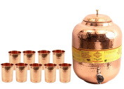 IndianArtVilla Copper Water Dispenser Pot Tank with 9 Glass Tumbler |For Storage & Serving Water Good Health Benefit Gift Item