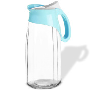 Evelyn Living 1.3 Litre Water Juice Glass Jug Pitcher Bottle With Lid Fridge Kitchen Home Picnic
