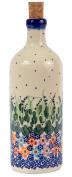 Traditional Polish Pottery, Handcrafted Ceramic Olive Oil or Vinegar Bottle 500ml, Boleslawiec Style Pattern, V.201.DAISY