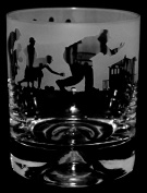 LAWN BOWLS SCENE GIFT ~ Boxed WHISKY TUMBLER GLASS