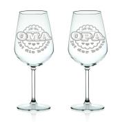 """'Leonardo """"Oma ist die beste (Grandma is the Best"""" & """"Opa ist der Beste (Granddad is the Best Wine Glasses Set"""
