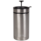 Steel Toe French Press Coffee Travel Mug with Brü-Stop Technology - 590ml - Stainless Steel - Brushed Steel