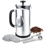 TOP-MAX 8-Cup French Press Stainless Steel Travel Mug 1L Cafeteria Coffee Tea Maker, Extra 3 Mesh Filter Replacement and 2 Spoons…