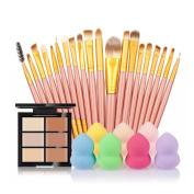 certainPL 2018 Super Soft 6-Colour Concealer +20 Makeup Brush + Water Puff Puff Powder Puff