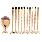 certainPL Makeup Brush Set, 11pcs Scale Make Up Brush Fishtail Mermaid Blush Powder Foundation Cream Cosmetic Brush Tool