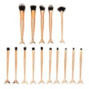 certainPL Makeup Brush Set, 15pcs Scale Make Up Brush Fishtail Mermaid Blush Powder Foundation Cream Cosmetic Brush Tool
