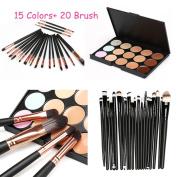certainPL 15 Colours Contour Face Cream Makeup Concealer Palette Professional + 20 Brush ( 15 Palette Concealer +20pcs Makeup Brush Set )