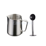 New 350ml Espresso Coffee Milk Frothing Pitcher, w/ Scale & Measuring Spoon
