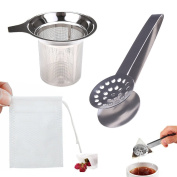 DINGJIN 100 Pcs Non-Woven Tea Filter Bags and One Round Tea bag Squeezer and One Tea Infuser Steeper Strainer Stainless Steel For Loose Leaf Tea