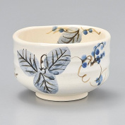 Mino Japanese Tea cup Matcha Bowl, Arrowroot flower and leaves Y1723 From Japan