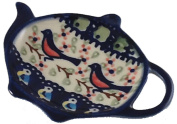 Teabag Caddy in Signature Limited Edition Polish Pottery Pattern BB Robin