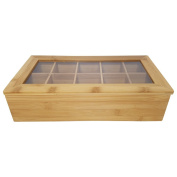 Bamboo Tea Box – wood – 10 equal sections – Transparent Top – Equally divided compartments – Bamboo Framed Lid – strong and durable – Acrylic Glass Top