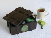 Valentine Day Gifts Vintage Wooden Tea Holder Storage Box Chest with 6 Compartments Tea Coffee Bags Condiments Spices Holder Organiser Handcrafted with Floral Design