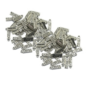 """Homyl 100Pcs Antiqued Silver """"Made With Love"""" Heart Charms Pendants DIY 5x18mm"""