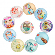 Yunso 10pcs Owl Back Glass Cabochons Domes Mixed Cameo Patch Fit Cabochons for Pendant Trays Jewellery Making 12mm