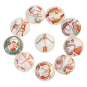 Yunso 10pcs Constellation Back Glass Cabochons Domes Mixed Cameo Patch Fit Cabochons for Pendant Trays Jewellery Making 12mm