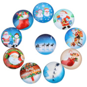 Yunso 10pcs Christmas Santa Claus Snowman Flat Back Glass Cabochons Domes Mixed Cameo Patch Fit Cabochons for Pendant Trays Jewellery Making 20mm