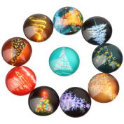 Yunso 10pcs Fantasy Christmas Tree Flat Back Glass Cabochons Domes Mixed Cameo Patch Fit Cabochons for Pendant Trays Jewellery Making 20mm