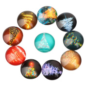 Yunso 10pcs Fantasy Christmas Tree Back Glass Cabochons Domes Mixed Cameo Patch Fit Cabochons for Pendant Trays Jewellery Making 12mm