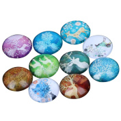 Yunso 10pcs Fantasy Elk Flat Back Glass Cabochons Domes Mixed Cameo Patch Fit Cabochons for Pendant Trays Jewellery Making 20mm