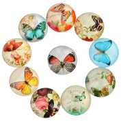 Yunso 10pcs Butterfly Flat Back Glass Cabochons Domes Mixed Cameo Patch Fit Cabochons for Pendant Trays Jewellery Making 20mm