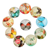 Yunso 10pcs Butterfly Flat Back Glass Cabochons Domes Mixed Cameo Patch Fit Cabochons for Pendant Trays Jewellery Making 12mm